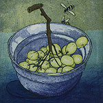 Grapes - etching by Ruth deMonchaux