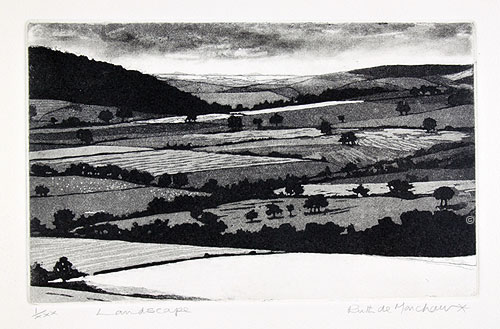 Landscape - etching by Ruth deMonchaux