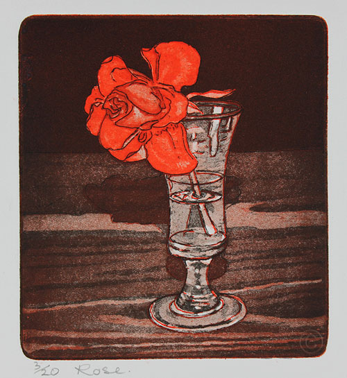 Rose - etching by Ruth deMonchaux