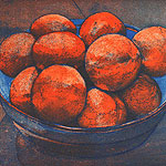 Tangerines - etching by Ruth deMonchaux